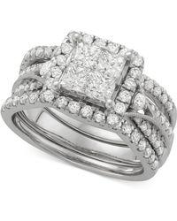 Macy's - Diamond 3-pc. Halo Quad Bridal Set (2 Ct. T.w.) In 14k White Gold - Lyst