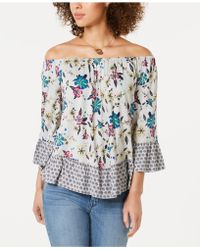 276c0606c0474b Lyst - Style   Co. Printed Off-the-shoulder Top in Blue