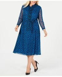 Anne Klein - Plus Size Printed Long-sleeve Dress - Lyst