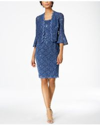 Alex Evenings - Sequined Lace Dress & Bell-sleeve Jacket - Lyst