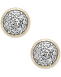 Macy's - Diamond Accent Stud Earrings In 14k Gold - Lyst
