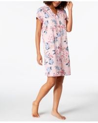 Miss Elaine - Printed Snap-front Short Robe - Lyst