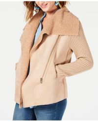 Style & Co. - Faux-shearling Draped-front Jacket, Created For Macy's - Lyst