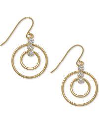 Macy's - Open Circle Cubic Zirconia Drop Earrings In 10k Gold - Lyst