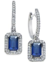 Macy's - Sapphire (1-1/4 Ct. T.w.) And Diamond (1/4 Ct. T.w.) Earrings In 14k White Gold - Lyst
