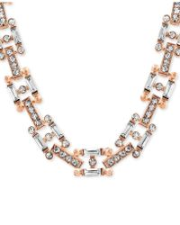 "Steve Madden - Two-tone Crystal 14"" Link Necklace - Lyst"