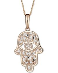 "Macy's - Two-tone Hamsa Hand 18"" Pendant Necklace In 14k Gold & White Gold - Lyst"