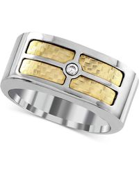 Macy's - Men's Diamond Accent Inlay Ring In 18k Gold And Stainless Steel - Lyst