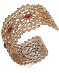 Lonna & Lilly - Gold-tone Pavé & Stone Openwork Cuff Bracelet - Lyst