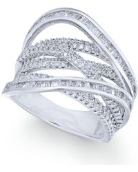 Macy's | Cubic Zirconia Crisscross Statement Ring In Sterling Silver | Lyst