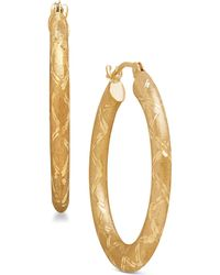 Macy's - Textured Design Hoop Earrings In 14k Gold - Lyst