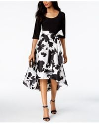 R & M Richards - Regular Floral & Solid High-low Dress - Lyst