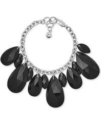 Michael Kors - Silver-tone Black Crystal Statement Bracelet - Lyst