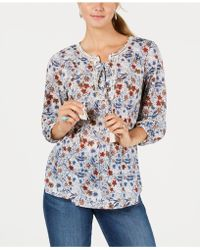 Style & Co. - Floral-print Lace-up Top, Created For Macy's - Lyst