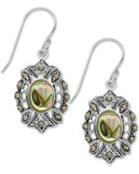 Macy's - Marcasite And Paua Shell Filigree Drop Earrings In Fine Silver Plate - Lyst