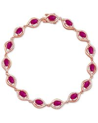 Macy's - Ruby (4-3/8 Ct. T.w.) & Diamond (1/2 Ct. T.w.) Link Bracelet In 14k White Gold(also Available In Emerald And Sapphire) - Lyst