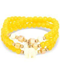 Zenzii - Gold-tone Elephant Charm Beaded Multi-row Bracelet - Lyst