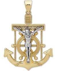 Macy's   Men's Mariner Cross Pendant In 14k Gold & White Gold   Lyst