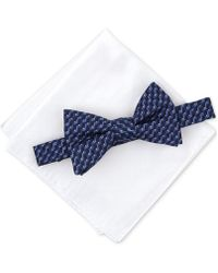 Alfani - Geometric Pre-tied Bow Tie & Solid Pocket Square Set, Created For Macy's - Lyst