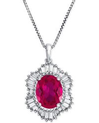 Macy's - Lab-created Ruby (1-7/8 Ct. T.w.) And White Sapphire (3/4 Ct. T.w.) Pendant Necklace In Sterling Silver - Lyst
