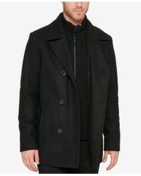 Kenneth Cole Reaction | Men's Bibbed Pea Coat | Lyst