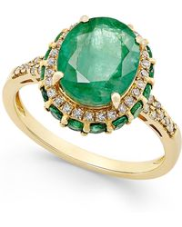 Macy's - Emerald (3-1/2 Ct. T.w.) And White Sapphire (1/3 Ct. T.w.) Oval Ring In 10k Gold - Lyst