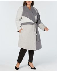 Alfani - Plus Size Draped Colorblocked Coat, Created For Macy's - Lyst