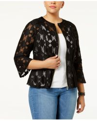 INC International Concepts - Plus Size Illusion Peplum Jacket - Lyst