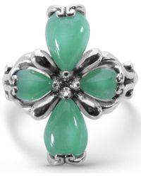 Carolyn Pollack - Green Jade Cross Ring In Sterling Silver - Lyst