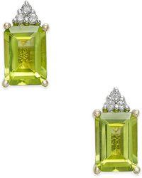 Macy's - Peridot (2-1/10 Ct. T.w.) & Diamond Accent Stud Earrings In 14k Gold - Lyst