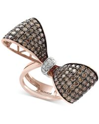 Effy Collection - Diamond Bow Ring (3-3/8 Ct. T.w.) In 14k Rose Gold And Black Rhodium Plate - Lyst