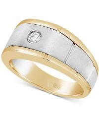 Macy's - Diamond Two-tone Ring (1/6 Ct. T.w.) In 10k Gold & White Gold - Lyst