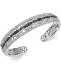 Macy's | Diamond Filigree Openwork Bangle Cuff Bracelet (3/8 Ct. T.w.) In Sterling Silver | Lyst