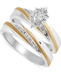 Beautiful Beginnings - Diamond Accent Bridal Set In 14k Gold And Sterling Silver - Lyst