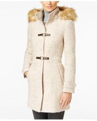 Ivanka Trump | Faux-Fur-Trim Buckled Wool-Blend Walker Coat | Lyst