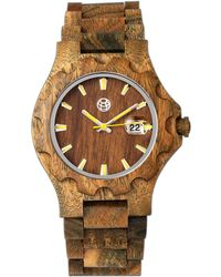Earth Wood - Gila Wood Bracelet Watch W/magnified Date Olive 43mm - Lyst