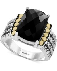 Effy Collection - Onyx (14 X 10mm) Statement Ring In Sterling Silver And 18k Gold - Lyst