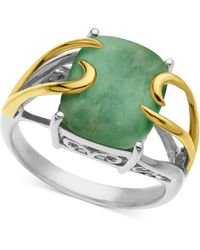 Macy's - 14k Gold And Sterling Silver Ring, Jade Rectangle (10-12mm) - Lyst