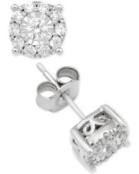 Macy's - Diamond Halo Stud Earrings (1 Ct. T.w.) In 14k White Gold - Lyst