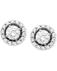 Arabella - 14k White Gold Earrings, Swarovski Zirconia Round Pave Stud Earrings (2-7/8 Ct. T.w.) - Lyst