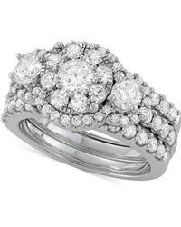 Macy's - Diamond 3-pc. Halo Bridal Set (2-5/8 Ct. T.w.) In 14k White Gold - Lyst