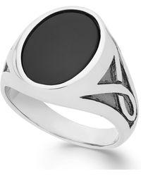 Macy's - Men's Onyx Oval Ring In Sterling Silver (3-1/3 Ct. T.w.) - Lyst