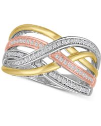 Macy's - Diamond Weave Tri-color Statement Ring (1/4 Ct. T.w.) In Sterling Silver And 14k Gold-plate - Lyst