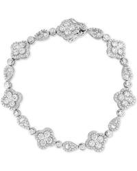 Macy's - Arabella Swarovski Zirconia Cluster Link Bracelet In Sterling Silver - Lyst
