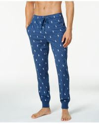 Lyst Polo Ralph Lauren Men S Cotton Logo Pajama Pants In Blue For Men