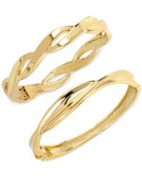 Hint Of Gold - Twist Bangle Bracelet Set In 14k Gold-plated Mixed Metal - Lyst