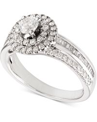 Macy's - Diamond Double Halo Engagement Ring (1 Ct. T.w.) In 14k White Gold - Lyst