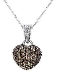 Effy Collection - Effy Espresso And White Diamond Heart Pendant Necklace (9/10 Ct. T.w.) In 14k White Gold - Lyst