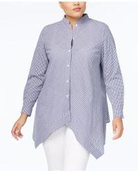 Anne Klein - Plus Size Cotton Shirt With Asymmetrical Hem - Lyst