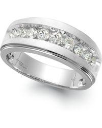 Macy's - Men's Nine-stone Diamond Ring In 10k White Gold (1/4 Ct. T.w.) - Lyst